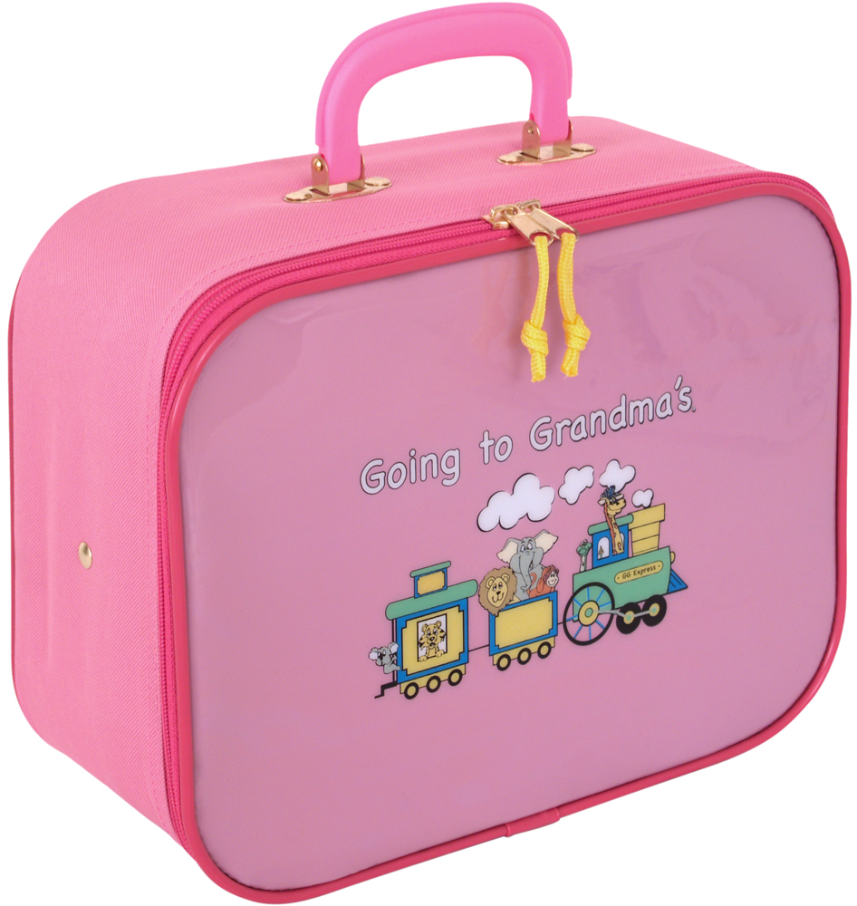 Childrens Train Case Going To Grandmas In Rolling Luggage